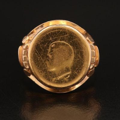 14K Bezel Set Iran 1/4-Pahlavi Gold Coin Ring