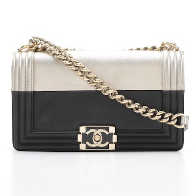 Chanel Boy Bag in Gold Metallic and Black Leather