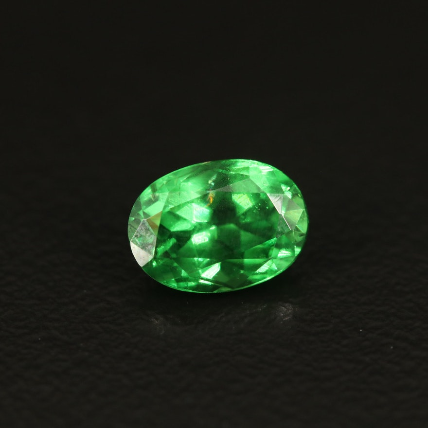 Loose 1.67 CT Oval Faceted Tsavorite