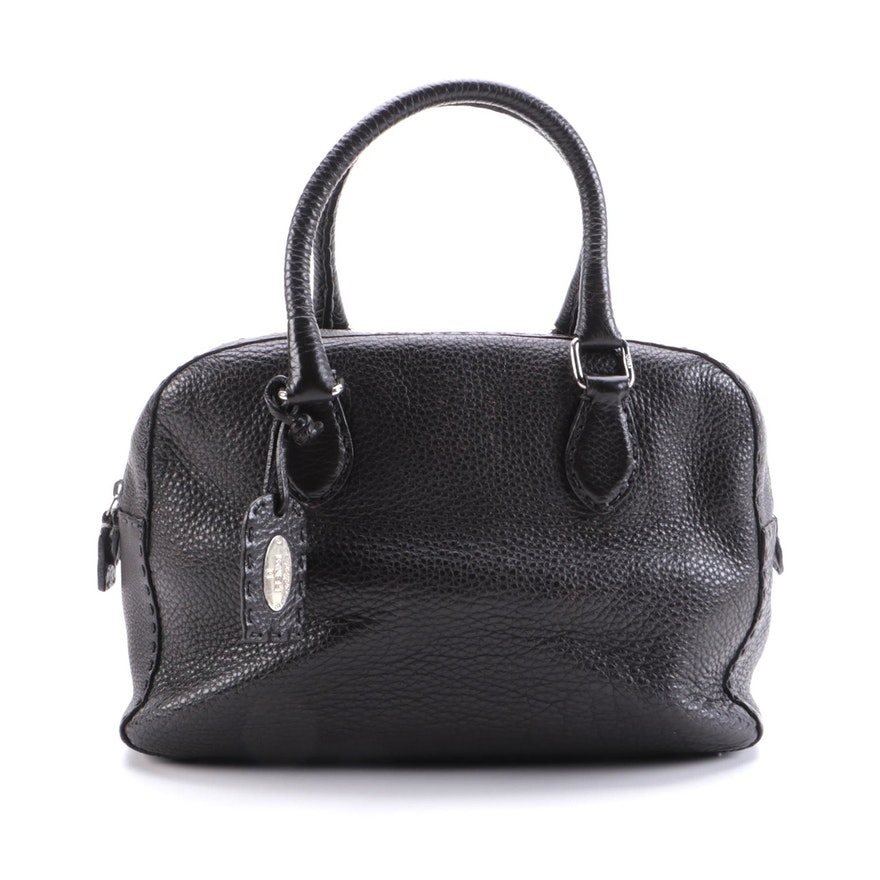Fendi Selleria Medium Zip Boston Bag in Dark Brown Grained Leather