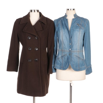 Anne Klein Double-Breasted Wool Coat and Coldwater Creek Jean Jacket