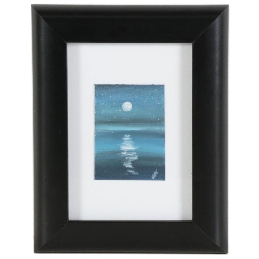 "Anjana Shakya Acrylic Painting ""Moonrise,"" 2020"