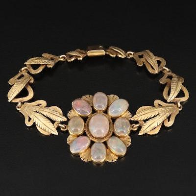 14K Opal Doublet Foliate Bracelet