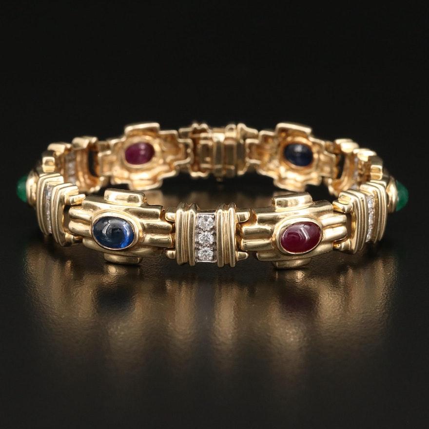 14K Diamond, Ruby, Emerald and Sapphire Bracelet