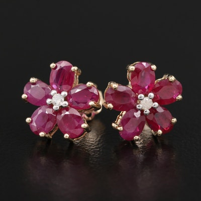 10K Ruby and Diamond Floral Stud Earrings