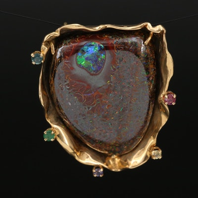 18K Multi-Gemstone and Free Form Boulder Opal Pendant