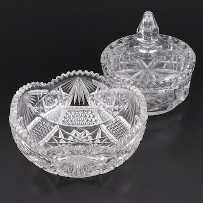 Cut Glass Nut Bowl and Candy Dish