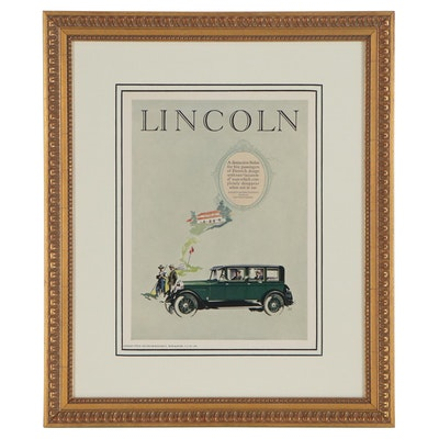 Offset Lithograph Advertisement for Lincoln Automobiles, 1926
