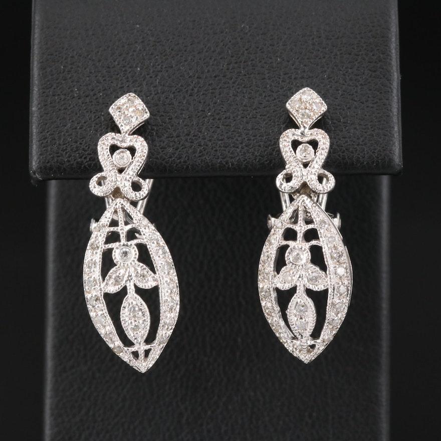 14K Diamond Foliate Drop Earrings