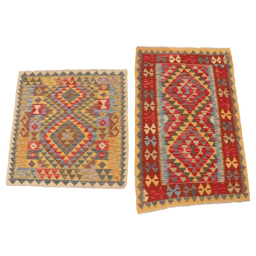 2'11 x 4'9 and 3'3 x 4'10 Handwoven Afghan Kilim Rugs