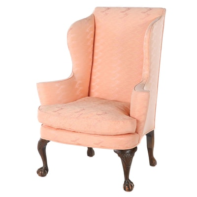 George II Style Custom-Upholstered Mahogany Wingback Armchair, 20th Century