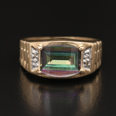 10K Mystic Topaz Ring with Diamond Accents
