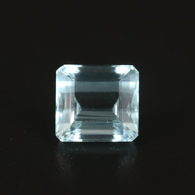 Loose 7.54 CT Rectangular Faceted Aquamarine