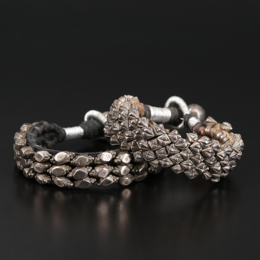 Asian Indian Lahsan Sterling and 800 Silver Bracelets