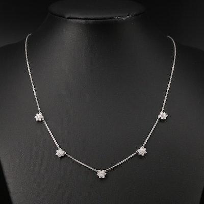 14K Diamond Flower Station Necklace