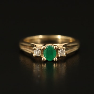 10K Emerald and Diamond Three Stone Ring
