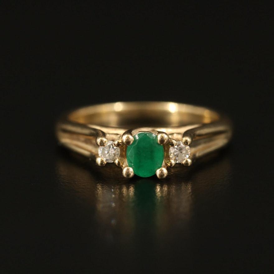 10K Emerald and Diamond Three Stone Ring