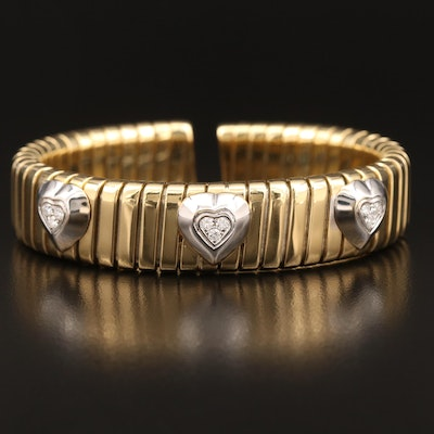 Robert Legnazzi 18K Flexible Tubogas Cuff with Diamond Set Heart Accents