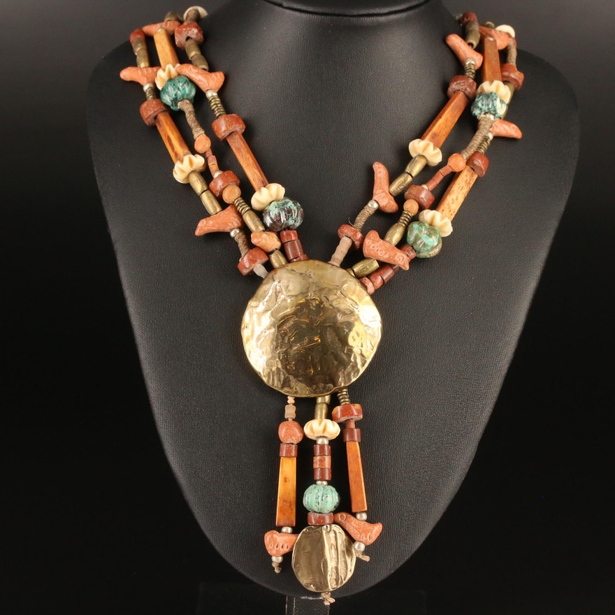 Mary and Doug Hancock Coral, Bone and Turquoise Necklace