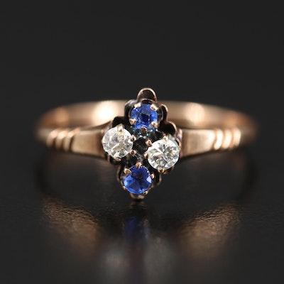Antique 9K Diamond and Garnet Glass Doublet Ring