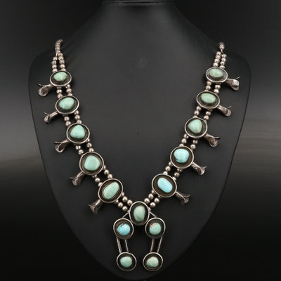 Sterling Turquoise and Variscite Squash Blossom Necklace with Naja Pendant