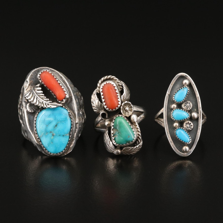 Signed Southwestern Sterling Silver Rings Featuring Turquoise and Coral