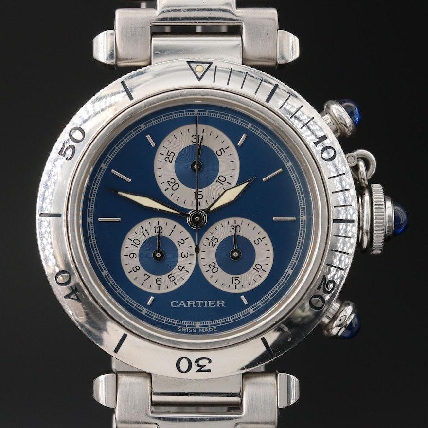 "Cartier ""Pasha de Cartier"" Chronoflex Stainless Steel Quartz Wristwatch"