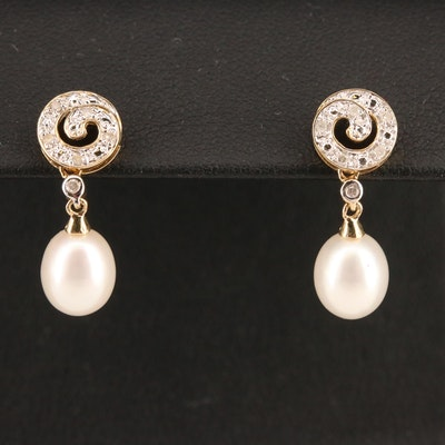 10K Pearl and Diamond Drop Earrings