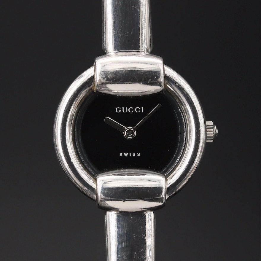 Gucci 1400L Stainless Steel Quartz Bangle Wristwatch