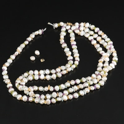 Triple Strand of Pearls with Mixed Tumbled Gemstone Accents and 14K Clasp