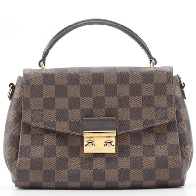 Louis Vuitton Croisette Handbag in Damier Ebene Canvas
