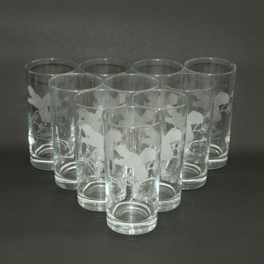 "Etched ""Ruffed Grouse"" Game Bird Glass Tumblers, Late 20th Century"