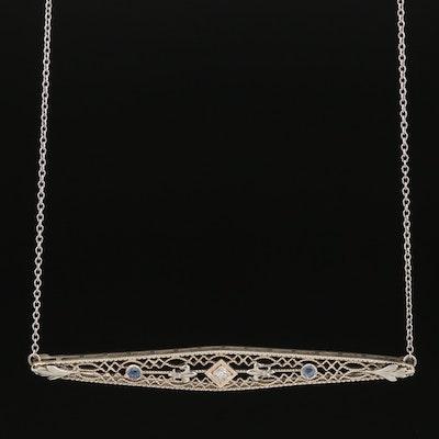 Vintage 14K Diamond and Sapphire Openwork Necklace