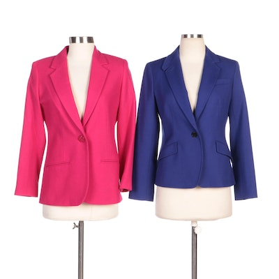 Sag Harbor and Talbots Petite Wool Blazers in Fuchsia and Royal Blue