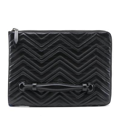 Gucci GG Marmont Portfolio Clutch in Black Matelasse Leather