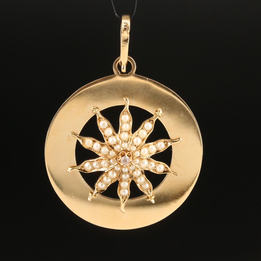 Vintage 14K Seed Pearl and Diamond Sunburst Pendant
