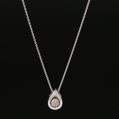 14K Diamond Teardrop Pendant Necklace