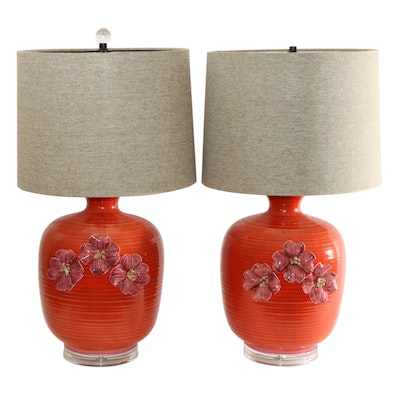 Pink Dogwood Motif Persimmon Colored Ceramic Table Lamps