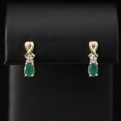 14K Emerald and Diamond Drop Earrings