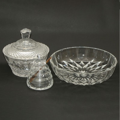 William Yeoward Crystal Honey Jar, Val St. Lambert Bowl, and Other Candy Jar