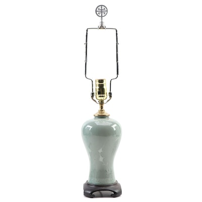 East Asian Celadon Ceramic Vase Table Lamp