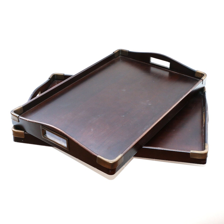 Crate & Barrel Wood and Brass Accent Serving Trays