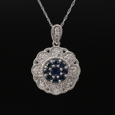 14K Sapphire and Diamond Floral Pendant Necklace