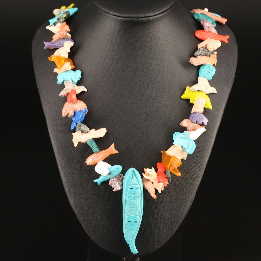 Western Style Carved Jasper and Turquoise Fetish Necklace