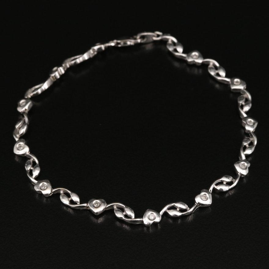 10K Diamond Heart Bracelet