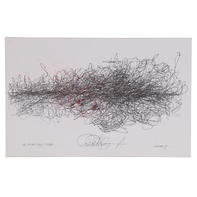 "Robert Lackney Abstract Ink Drawing ""Ink Sketch Study #2583"""