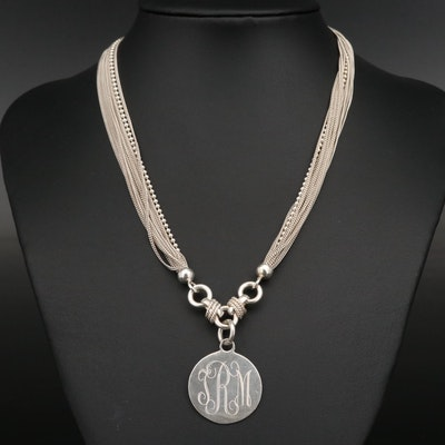 Sterling Silver Multi-Strand Monogrammed Disc Pendant Necklace