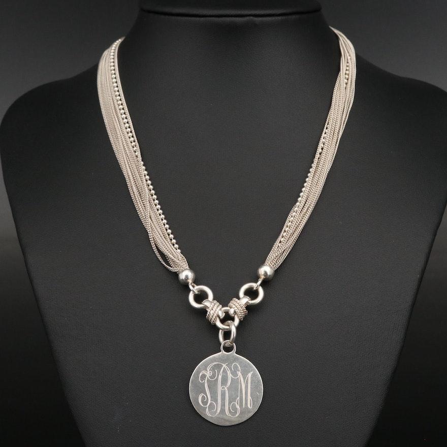 Sterling Silver Multi-Strand Monogrammed Disc Pendant Necklace