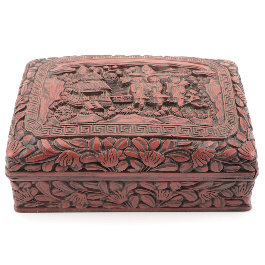 Chinese Cinnabar Style Carved Lacquerware Box