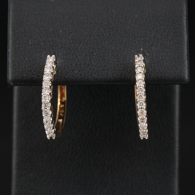 10K Diamond Hinged Hoop Earrings